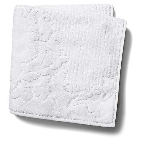 Scroll Bath Towel, White
