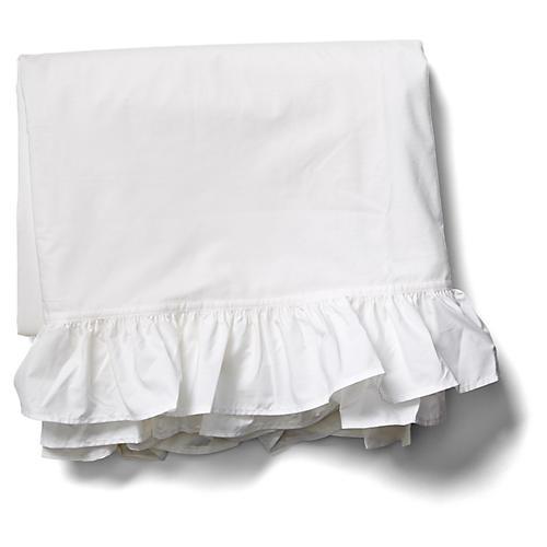 Liliput Ruffle Flat Sheet, White