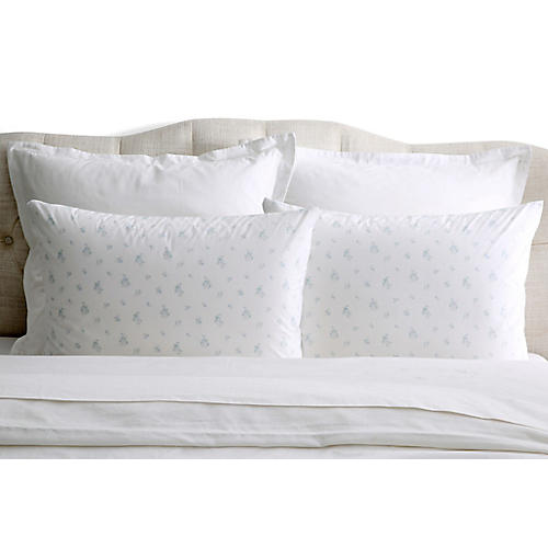 S/2 Petite Bouquet Pillowcases, Blue