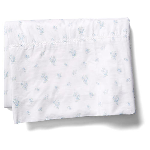 Petite Bouquet Flat Sheet, Blue