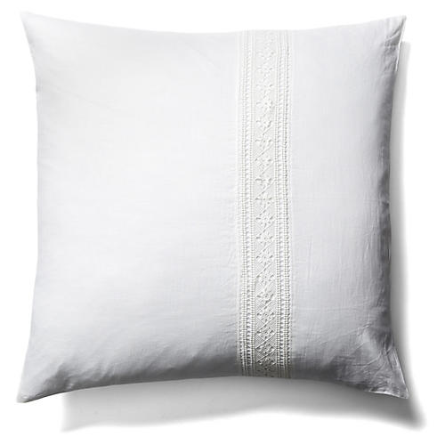 Cluny Lace European Square Sham, White
