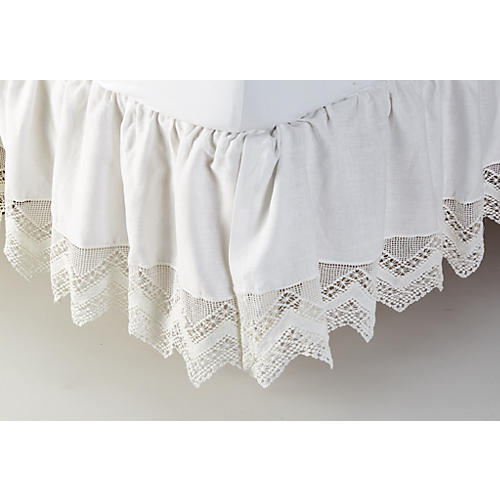 Cluny Lace Bed Skirt, White