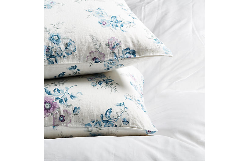 S/2 Paradise Floral Pillowcases, Lilac/Blue