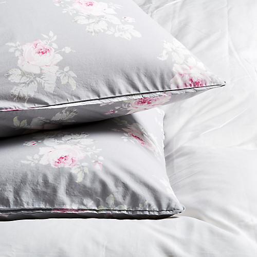S/2 Rose Majesty Pillowcases, Dark Gray