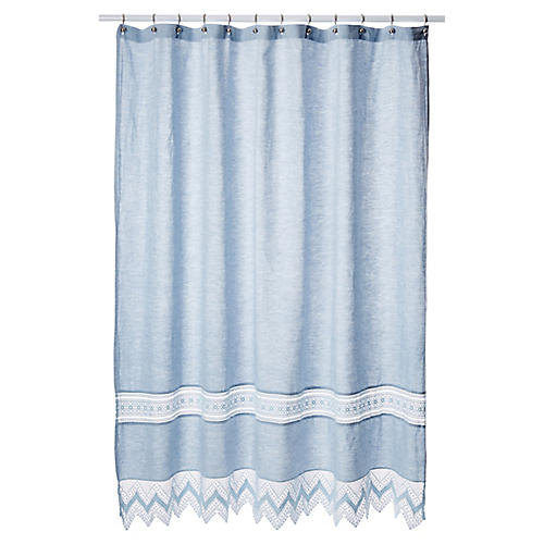 Cuny Lace Shower Curtain, Indigo
