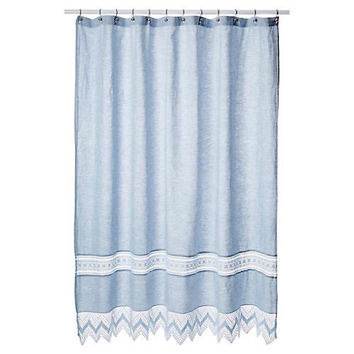 Cuny Lace Shower Curtain, Indigo