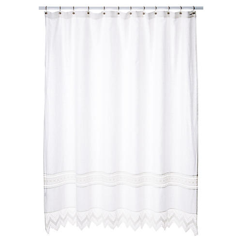 Cuny Lace Shower Curtain, White
