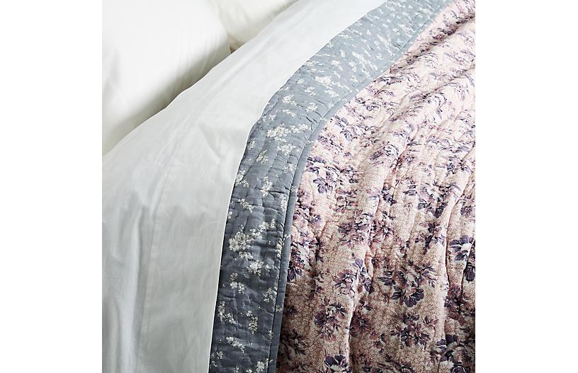 Valentina Queen Quilt, Floral Pink/Gray