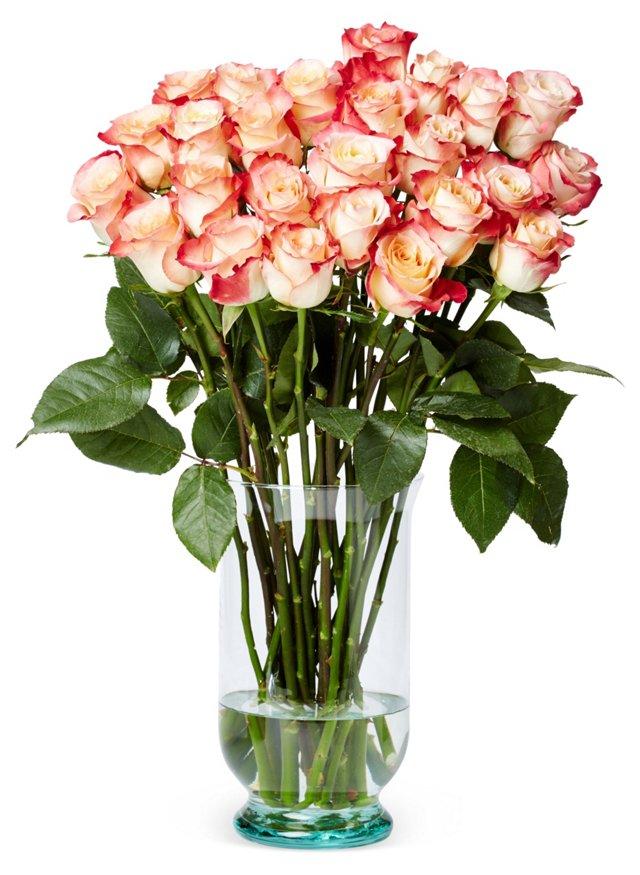 25 Premium Long-Stem Roses, Red/White