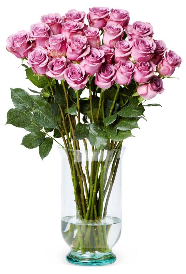 25 Premium Long-Stem Roses, Purple