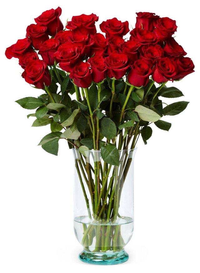 25 Premium Long-Stem Roses, Red