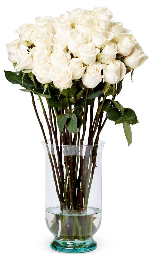 50 Premium Long-Stem Roses, White