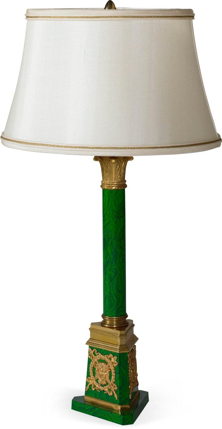 Imported Brass & Malachite Lamp
