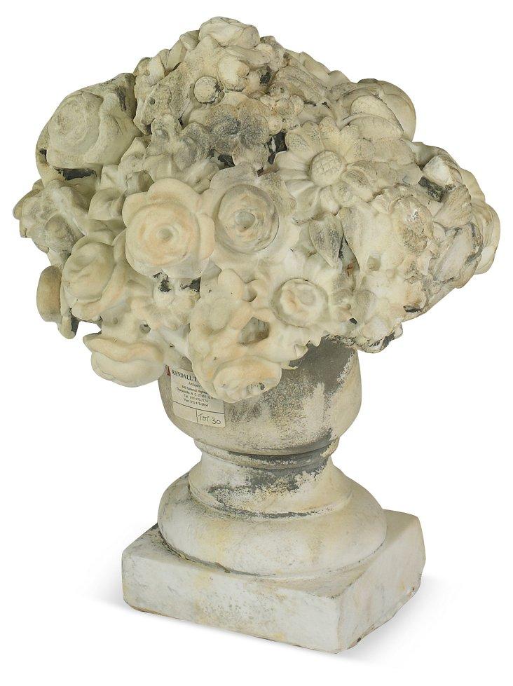 19th-C. Limestone Bouquet