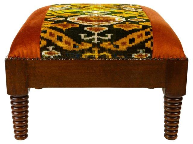 Moroccan Footstool, Velvet Orange