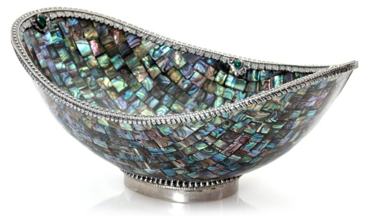 Abalone Oval Bowl w/ Sterling
