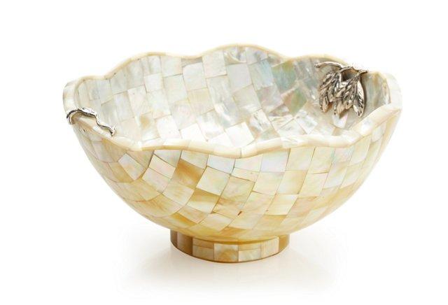 Shell Bowl w/ Sterling-Silver Leaf Motif