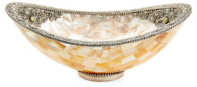 MOP Oval Bowl w/SS Accent & Gems