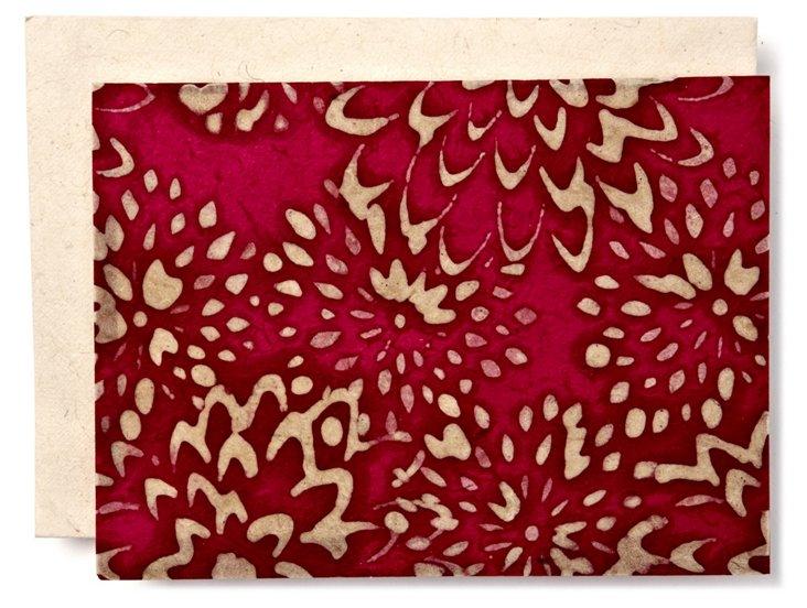 S/10 Batik Mums Cards, Magenta