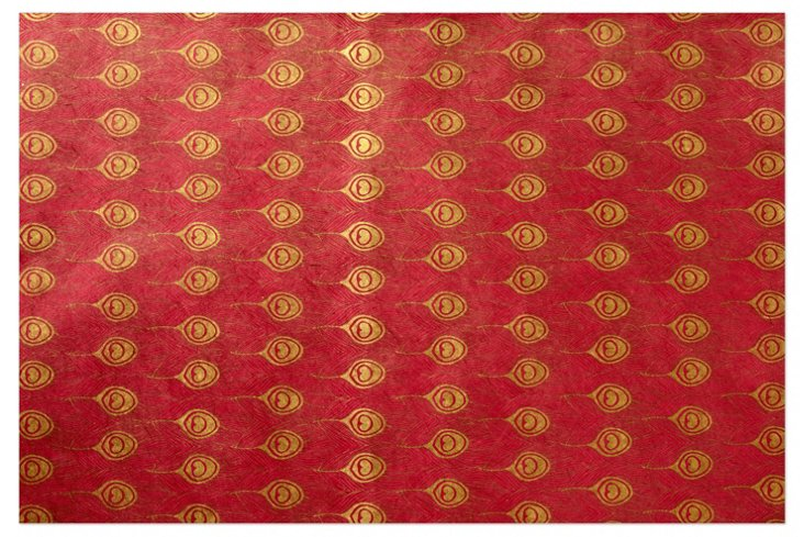 S/5 Peacock Gift Wrap Sheets, Pink/Gold