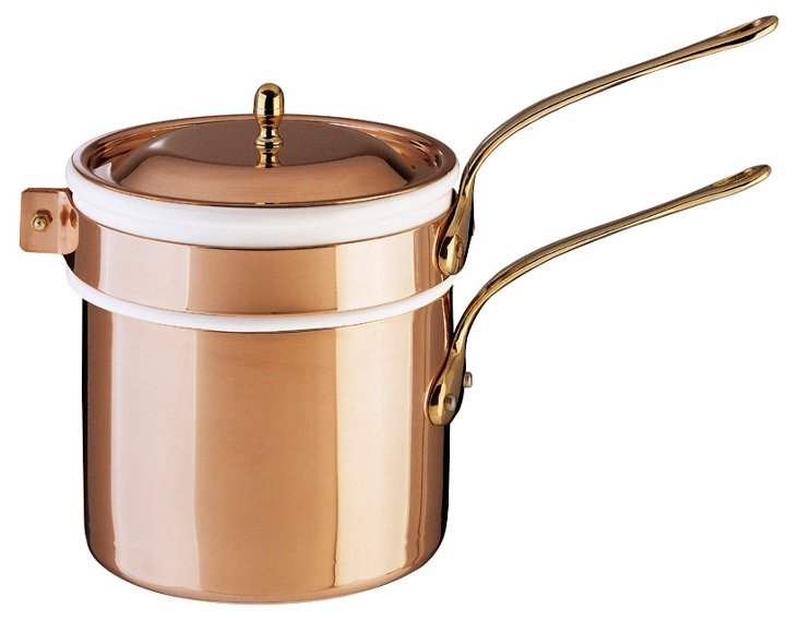 Copper Bain-Marie w/ Porcelain Insert