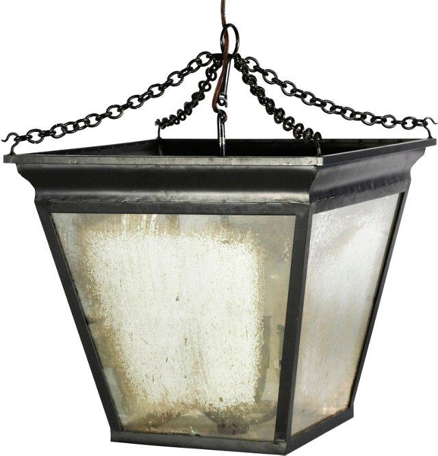 Hanging Lantern w/ Antiqued Glass