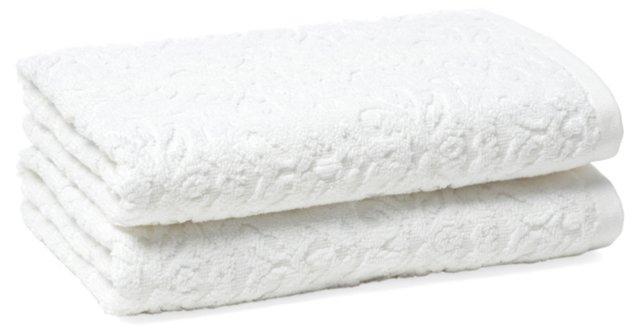 S/2 Diamond Hand Towels, White