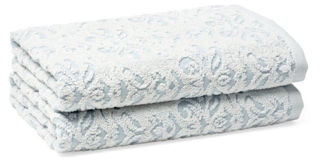 S/2 Diamond Hand Towels, Spa Blue