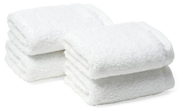 S/4 Loop Washcloths, White