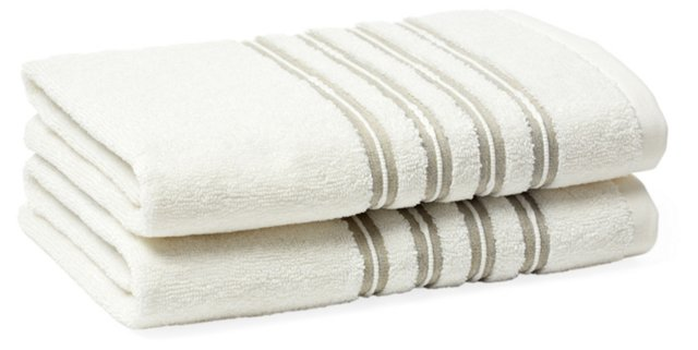 S/2 French Knot Hand Towels, Ivory