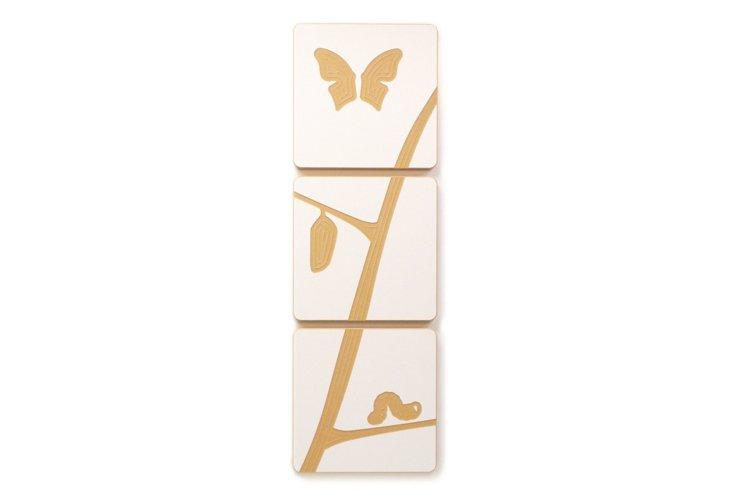 S/3 Caterpillar Art Tiles, White