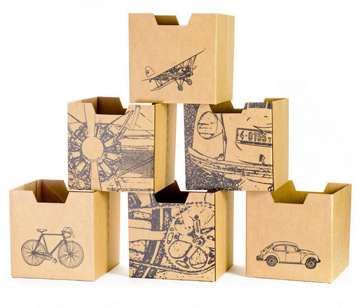 S/6 Recyclable Cubby Bins, City Print