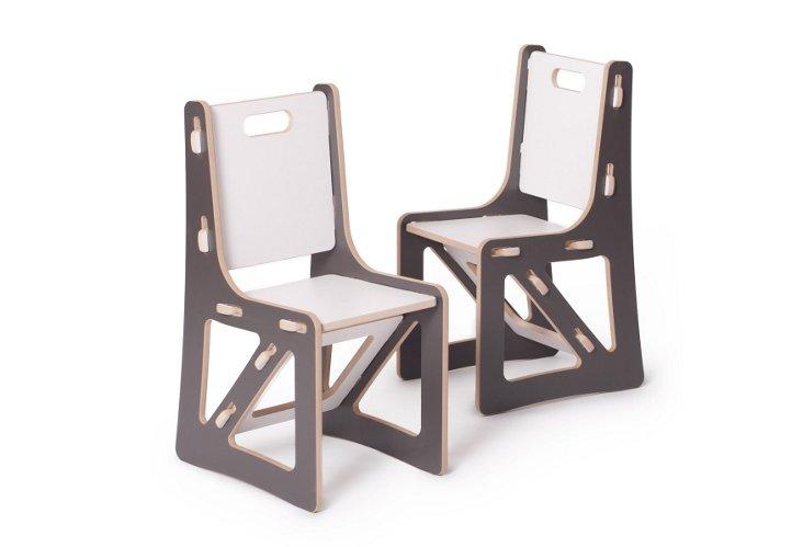 S/2 Kids Chairs, Gray/White