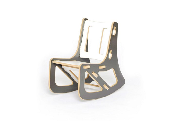 Kids Rocking Chair, Gray/White