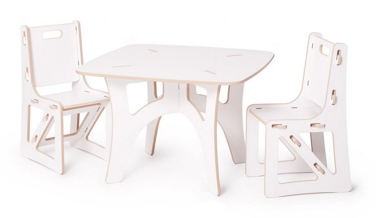 Kids Recyclable Table & Chair Set, White