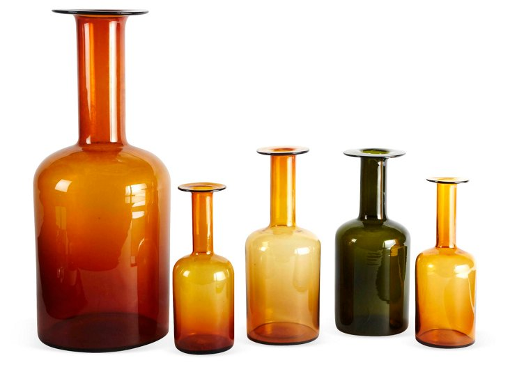 Blown-Glass Vases, Set of 5