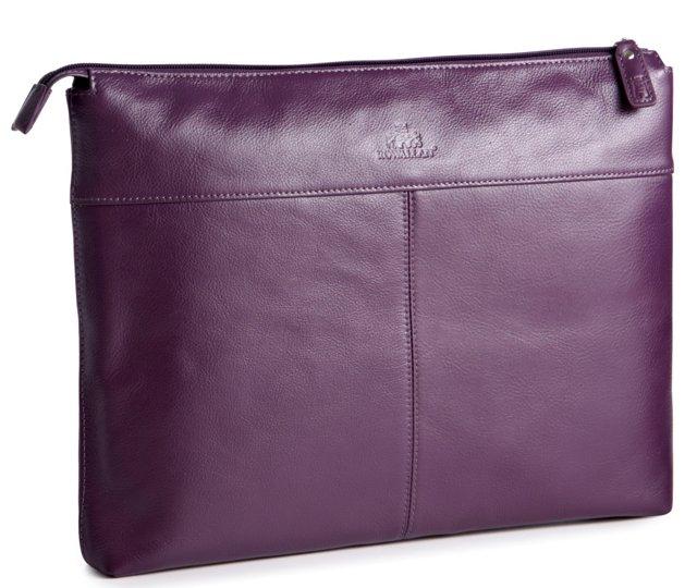 Leather Laptop Folio, Purple