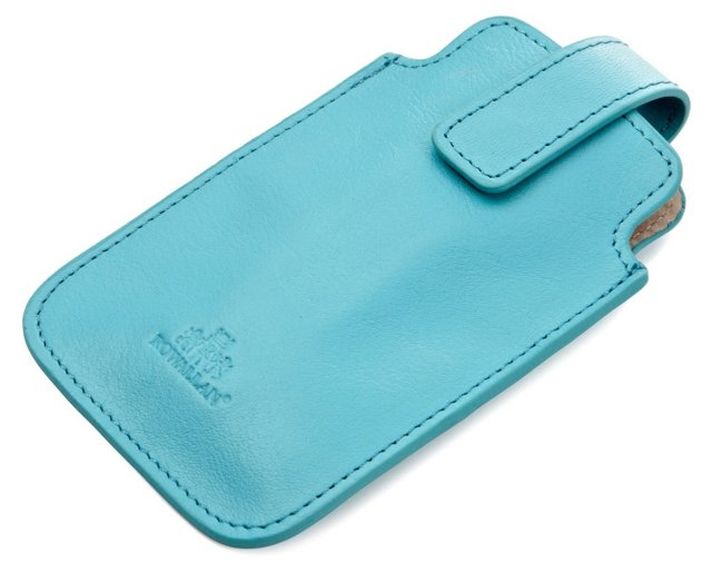 Leather iPhone Sleeve, Teal