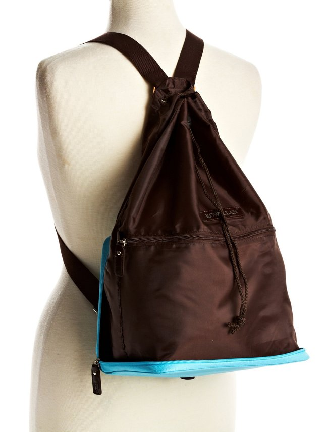 Zip-Out Backpack, Blue/Brown