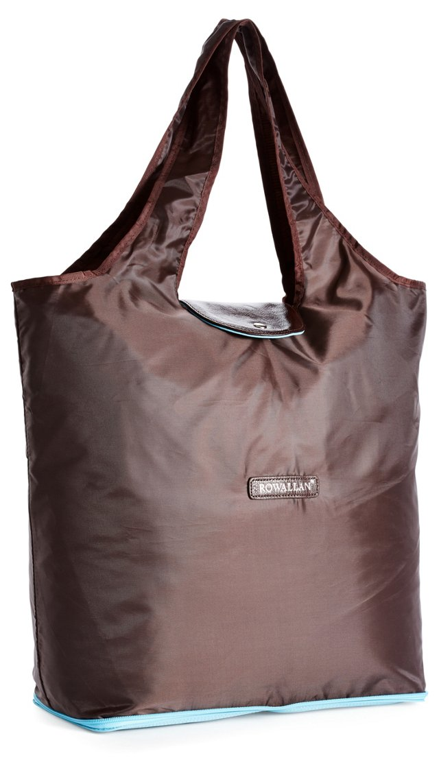 Zip-Out Shopping Tote, Chocolate/Sky