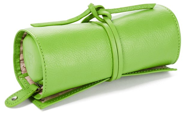 Leather Jewelry Roll, Highland Green