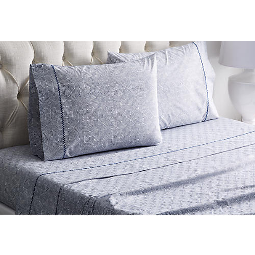 Diamonds Sheet Set, Navy/White