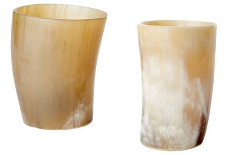 S/4 Kaliko Horn Cups, Beige