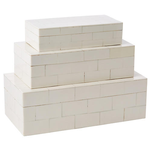 S/3 Santorini Stacking Boxes, White
