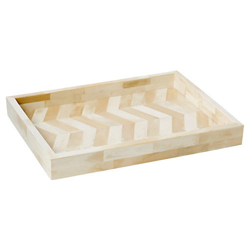 "12"" Santorini Bone Tray, Cream"