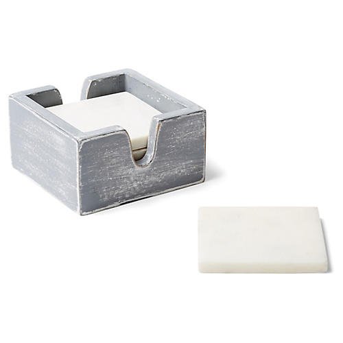 Asst. of 4 Rhodes Coasters w/ Box, White/Gray