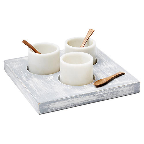 Asst. of 7 Serres Salt Tray w/Cups, White/Gray