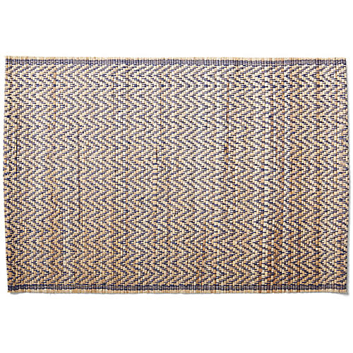S/4 Cayes Chevron Place Mats, Natural/Navy
