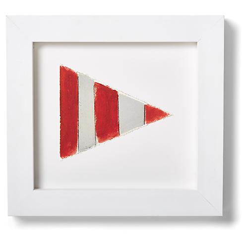 "Nautical Framed ""CODE"" Flag Signal Print, Red"