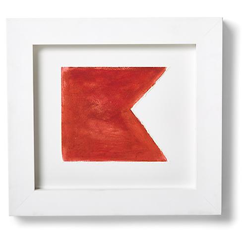 "Nautical Framed ""B"" Flag Signal Print, Red/White"